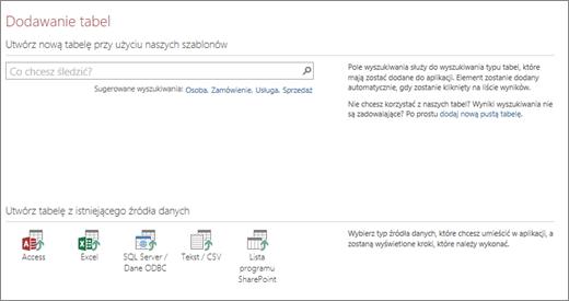 Dodawanie tabel do aplikacji sieci Web programu Access