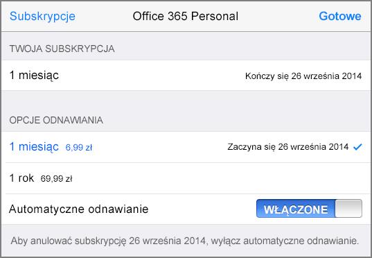 Opcje subskrypcji sklepu App Store