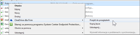 Wyświetlanie pliku w zsynchronizowanym folderze w przeglądarce sieci Web