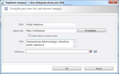 Okno dialogowe Nagłówek nawigacji