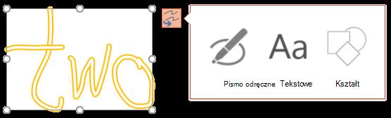 Pismo odręczne i konwertowanie pokazano, jakiego rodzaju obiekt może próbować Konwertowanie zaznaczonych obiektów.