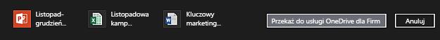 Pasek akcji z plikami wybranymi do przekazania do usługi OneDrive dla Firm