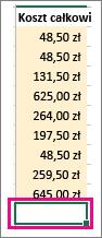 Po kliknięciu pozycji Autosumowanie wyświetlany jest obszar zaznaczenia i formuła