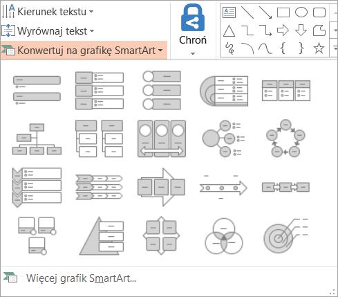 Pokazuje opcje w oknie konwertowanie do galerii grafiki SmartArt