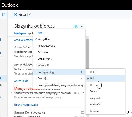 Zrzut ekranu przedstawiający skrzynkę odbiorczą z wybraną pozycją Filtr > Sortuj według > Od.