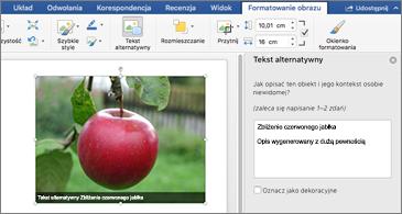 Dokument programu Word z obrazem i okienkiem tekstu alternatywnego po prawej stronie