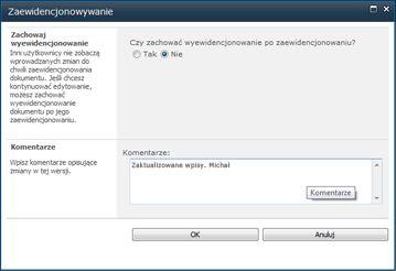 Okno komunikatu wyświetlane, kiedy plik jest zaewidencjonowany