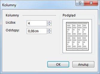 Narzędzia pól tekstowych — więcej kolumn