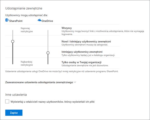 Ustawienia udostępniania w Centrum administracyjnym usługi OneDrive
