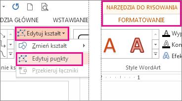 Polecenie Edytuj punkty w menu Edytuj kształt na karcie Narzędzia do rysowania > Formatowanie