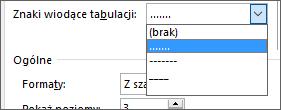 Znaki wiodące tabulacji w spisie treści możesz zmienić na kreski lub kropki.