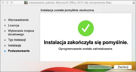 Zrzut ekranu przedstawiający okno z informacją o pomyślnym ukończeniu instalacji