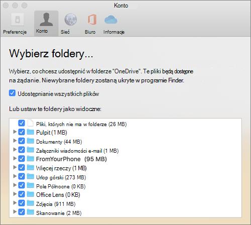 Okno dialogowe Wybieranie folderów w oknie dialogowym Preferencje usługi OneDrive dla komputerów Mac