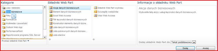 Selektor składników Web Part zawierający składnik Web Part programu Excel Web Access