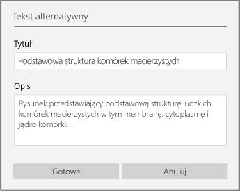 Okno dialogowe Tekst alternatywny umożliwiające dodanie tekstu alternatywnego w programie OneNote dla systemu Windows 10.