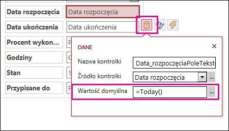 Ustawianie wartości domyślnej pola daty w aplikacji programu Access.