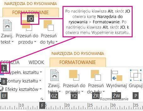 Nowe skróty klawiaturowe, używanie podwójnych liter, otwieranie karty Narzędzia do rysowania.