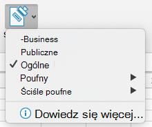 Sensitivity button with sensitivity options displayed