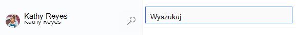 Zaznaczona ikona szkła powiększającego i otwarte pole wyszukiwania