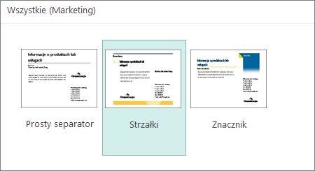 Szablony pocztówek marketingowych w programie Publisher.