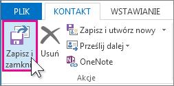 Przycisk zapisywania i zamykania informacji o kontakcie