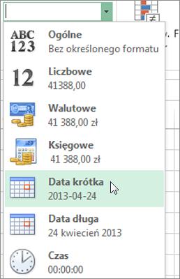 Polecenie Data krótka w galerii Format liczb