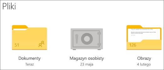 Zrzut ekranu przedstawiający folder magazynu osobistego w usłudze OneDrive