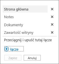 Edytowanie linku na pasku Szybkie uruchamianie