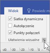 Zrzut ekranu przedstawiający opcje na karcie Widok z zaznaczonymi pozycjami Siatka dynamiczna i Punkty połączeń
