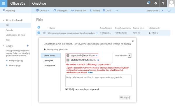 Użytkownicy otrzymują ten błąd, kiedy próbują udostępnić dokument usługi OneDrive adresowi z ograniczonej domeny.