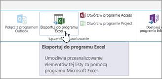 Wyróżniony przycisk Eksportuj do programu Excel na wstążce programu SharePoint