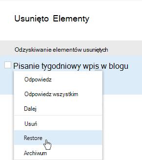 Zrzut ekranu przedstawiający menu odzyskiwania elementów usuniętych