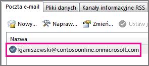 Konto w oknie dialogowym Ustawienia kont w programie Outlook 2013