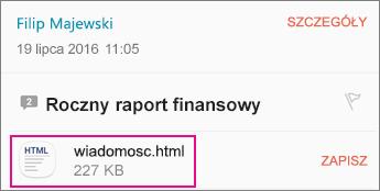 Przeglądarka OME z aplikacji poczty E-mail Android 1