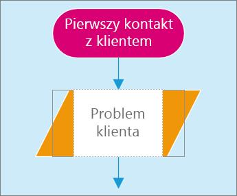 Zrzut ekranu przedstawiający dwa kształty na stronie diagramu. Jeden kształt jest aktywny na potrzeby wprowadzania tekstu.