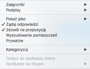 Menu spotkania — wyłączona opcja Spotkanie na Skypie