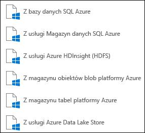 Pobieranie danych z programu Microsoft Azure