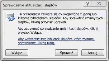 Okno dialogowe Sprawdzanie aktualizacji slajdów