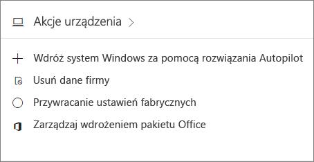 Zrzut ekranu przedstawiający kartę Urządzenia w centrum administracyjnym