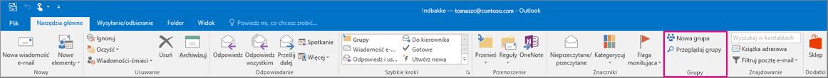 Opcje obszaru Grupy na głównej wstążce programu Outlook