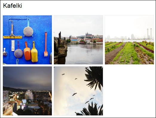 Widok kafelków Galeria obrazów sieci Web Part
