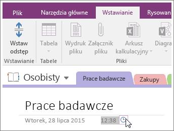 Zrzut ekranu, na którym wyjaśniono, jak zmienić sygnaturę czasową strony w programie OneNote2016.