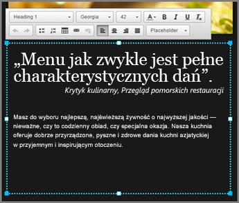 Przykładowy tekst podstawowy w projekcie w witrynie GoDaddy