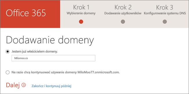 Dodawanie domeny