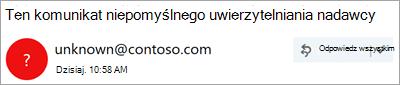 Zrzut ekranu przedstawiający znak zapytania na obrazie nadawcy