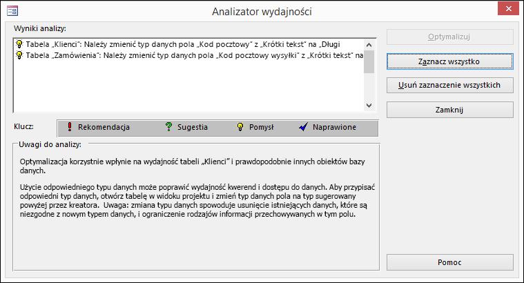 Okno dialogowe wyników Analizatora wydajności po uruchomieniu go w bazie danych programu Access.
