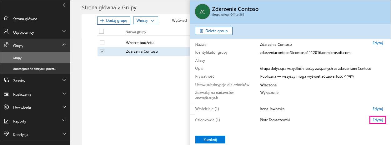 Zrzut ekranu z wyróżnionym linkiem Edytuj członków