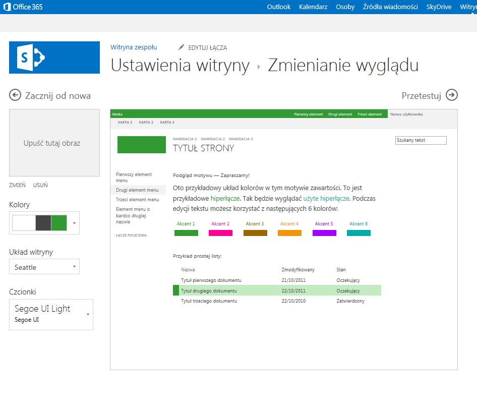 Zmienianie koloru, układu i motywu witryny publikowania programu SharePoint