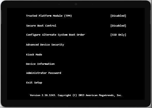 Czarny ekran z listą informacji o urządzeniu.