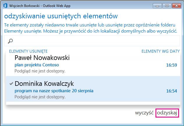 Okno dialogowe Odzyskiwanie usuniętych elementów w aplikacji Outlook Web App